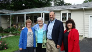 (L to R) Helen Fisher- Clermont Senior Services, Mrs. Barbee-homeowner, John Byczkowski - FHLB Cincinnati, Desi Garrison - River Hills Bank